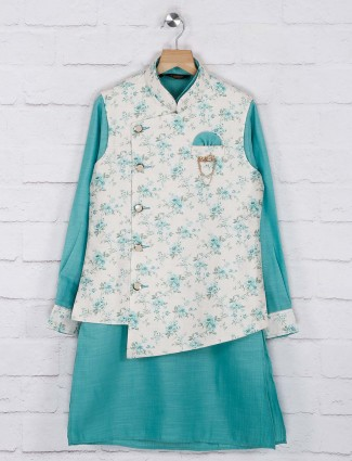Sea green and white hued printed cotton jute waistcoat set