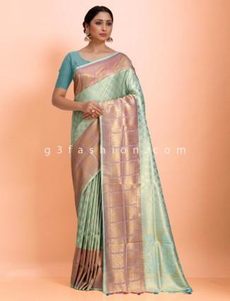 Sea green art kanjivaram wedding wear exclusive saree