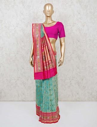 Sea green banarasi silk zari weaving saree