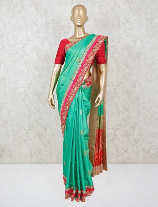 Sea green beautiful dola silk saree