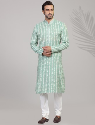Sea green chikan embroidared cotton kurta suit