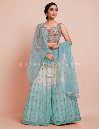 Sea green color designer georgette lehenga choli