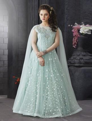 Sea green color net fabric designer gown
