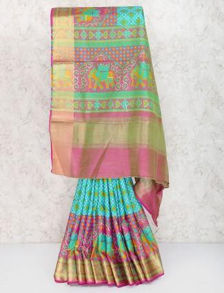 Sea green color semi silk sari