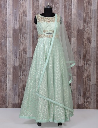 Sea green color silk anarkali suit for wedding function