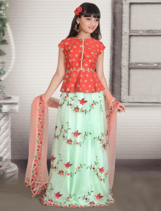 Sea green color silk girls lehenga choli