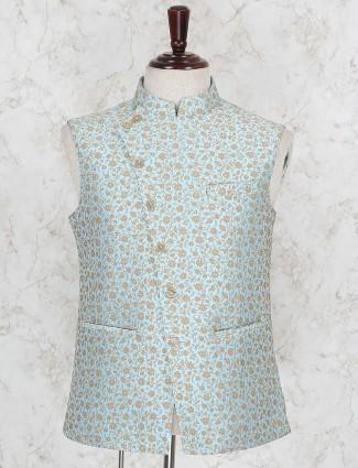 Sea green color terry rayon fabric waistcoat