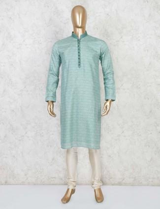 Sea green cotton festive wear kurta suit
