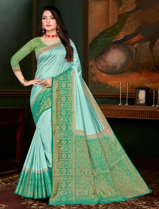 Sea Green cotton silk festivals wear saree