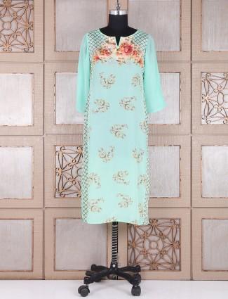 Sea green cotton silk kurti