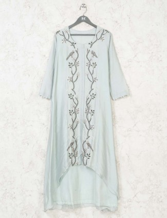 Sea green cotton silk kurti in festive