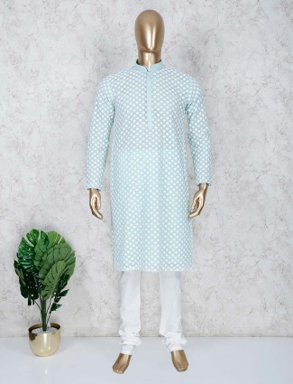 Sea green cotton stand collar kurta suit