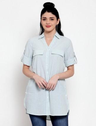 Sea green cotton stripe long shirt top
