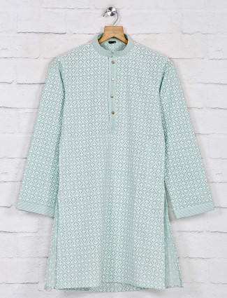 Sea green designer cotton kurta suit