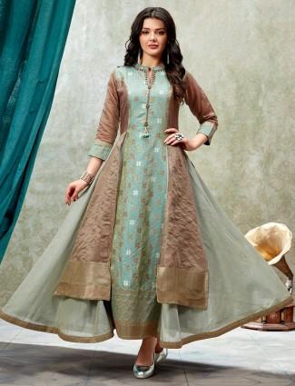 Sea green designer cotton silk anarkali kurti