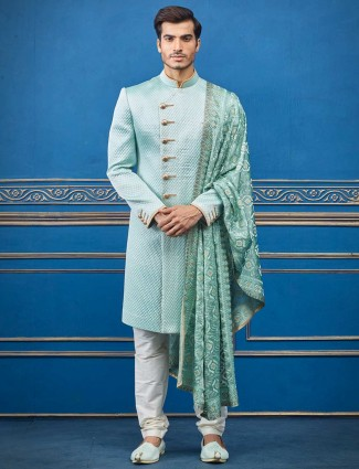 Sea green designer cotton silk textured design indo western