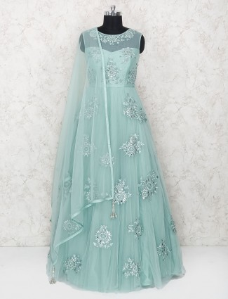 Sea green designer floor length anarkali suit