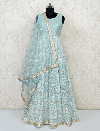 Sea green designer floor length flared gown