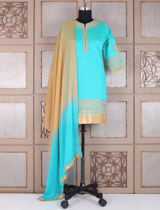 Sea green designer silk punjabi suit