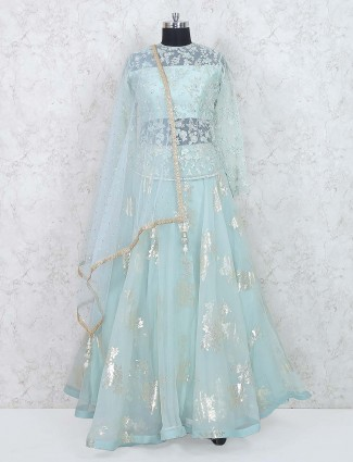 Sea green designer wedding wear lehenga choli