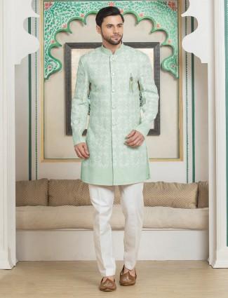 Sea green exclusive silk wedding indo western