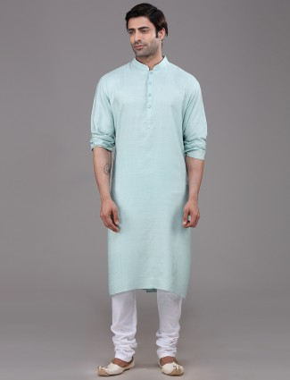 Sky blue festive function silk kurta suit
