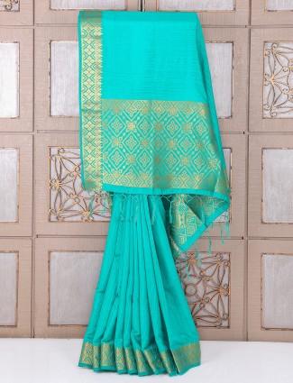 Sea green festive wear bhagalpuri silk saree