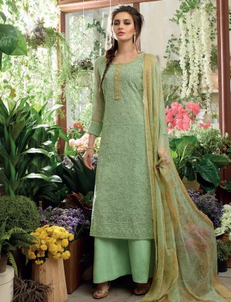 Sea green georgette festive salwar suit