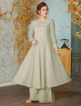 Sea green georgette party designer anarkali palazzo suit