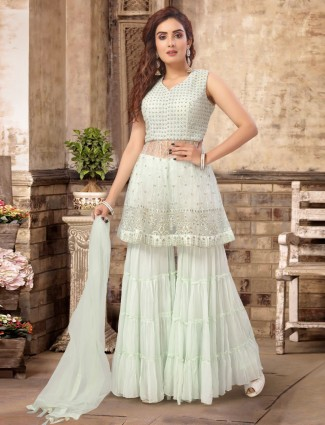 Sea green georgette punjabi sharara suit