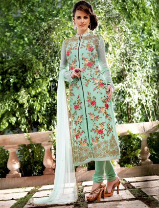 Sea green georgette dress material