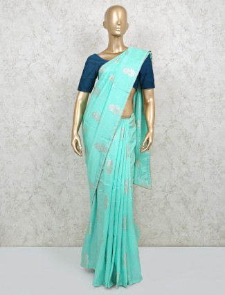 Sea green gota work saree in dola silk fabric