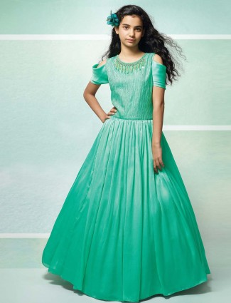 Sea green hue designer gown