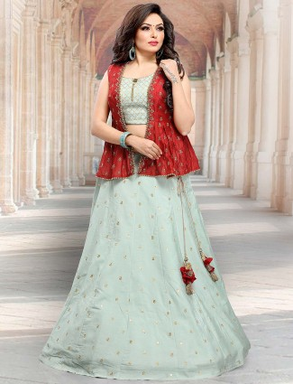 Sea green jacket style raw silk lehenga choli