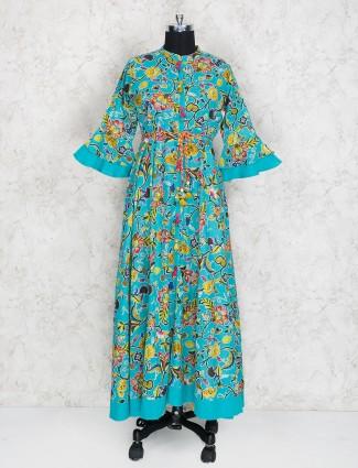 Sea green kurti in cotton fabric