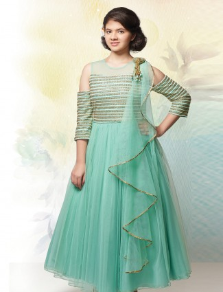Sea green net fabric gown for party wear