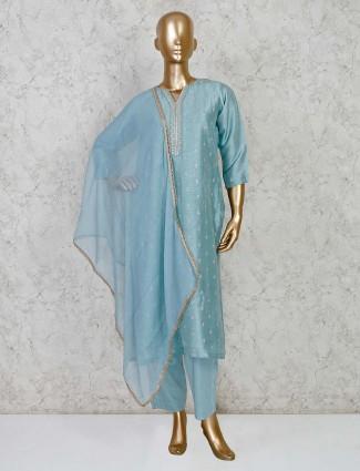 Sea green pant cotton silk salwar suit for festivals