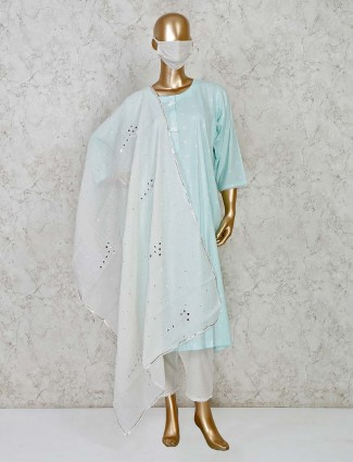 Sea green pant salwar suit ion cotton for festivals
