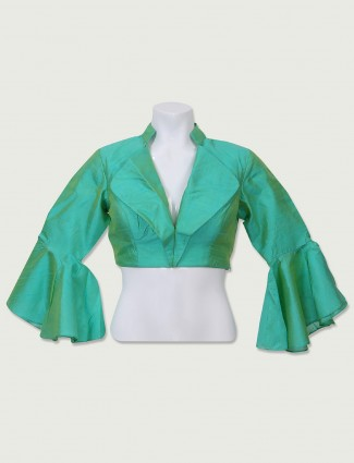Sea green plain ready made blouse