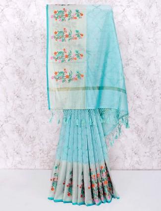 Sea green pretty cotton saree