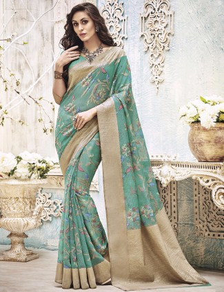 Sea green printed art silk saree