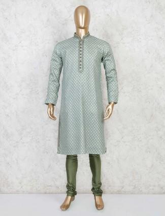 Sea green printed cotton kurta suit festive wear