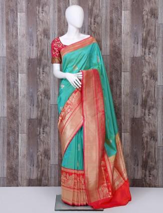 Sea green pure banarasi silk saree