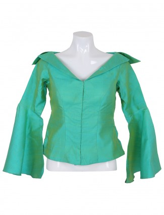 Sea green raw silk ready made blouse