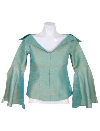 Sea green ready made raw silk blouse