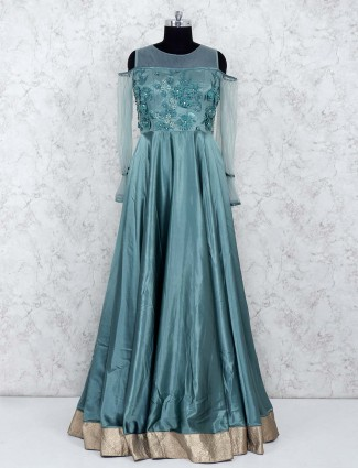 Sea green round neck gown