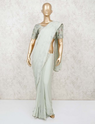 Sea green satin saree