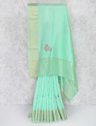 Sea green semi silk fabric festival saree
