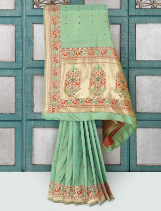 Sea green semi silk saree