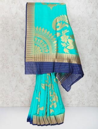 Sea green semi silk sari